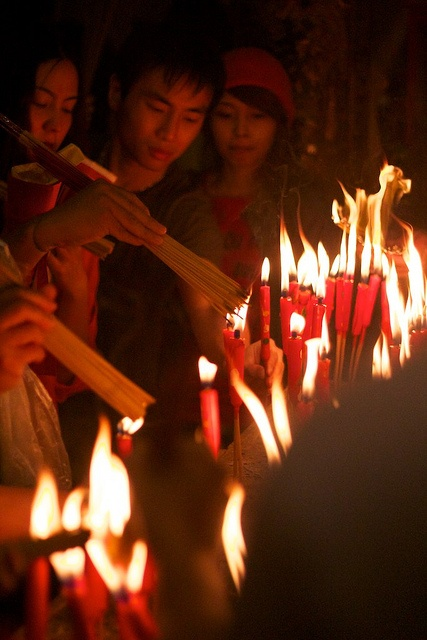 On the first day of Chinese New Year, many people go to the temple to burn incense, which they believed to bring good luck for the coming year....