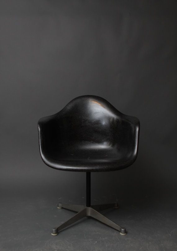 Vintage Herman Miller Eames Black Fiberglass Swivel Shell Chair - Mid Century Modern.