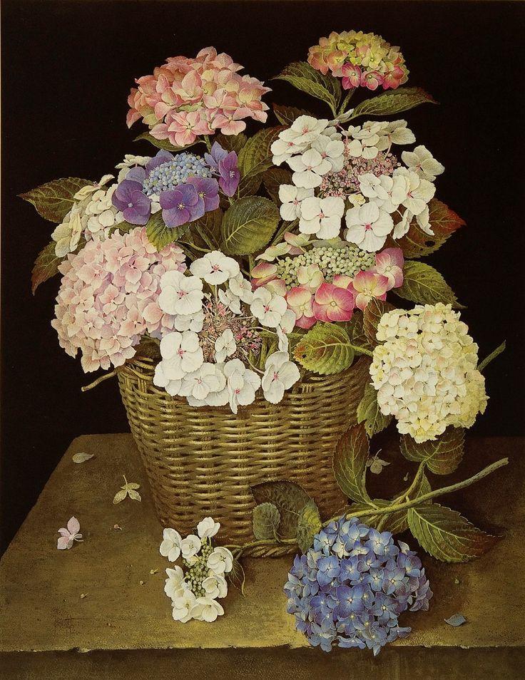 Jose Escofet (b. 1930) — Hydrangeas in Wicker Basket, 1990 (900x1167)