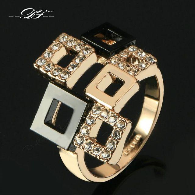 AAA + Cubic Zircon Anéis Atacado Rosa Cor de Ouro de Festa Marca de Moda Acrílico Quadrado Retro Jóias Para Mulheres DFR091