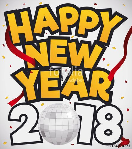Silver Disco Ball, Confetti and Streamers For New Year Celebration