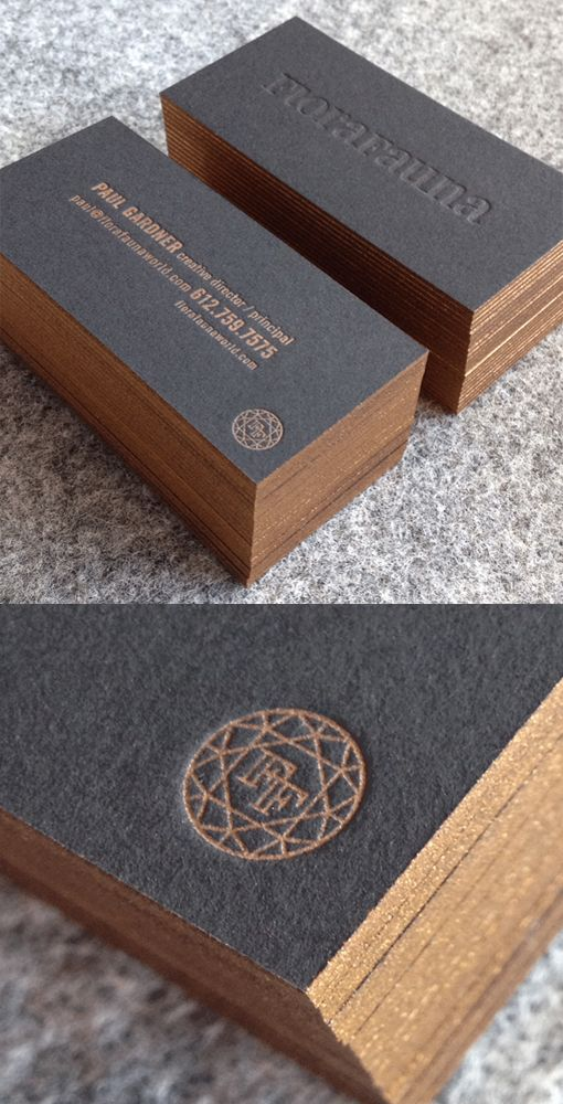 Minimal Design Letterpress And Edge Painted Business Card
