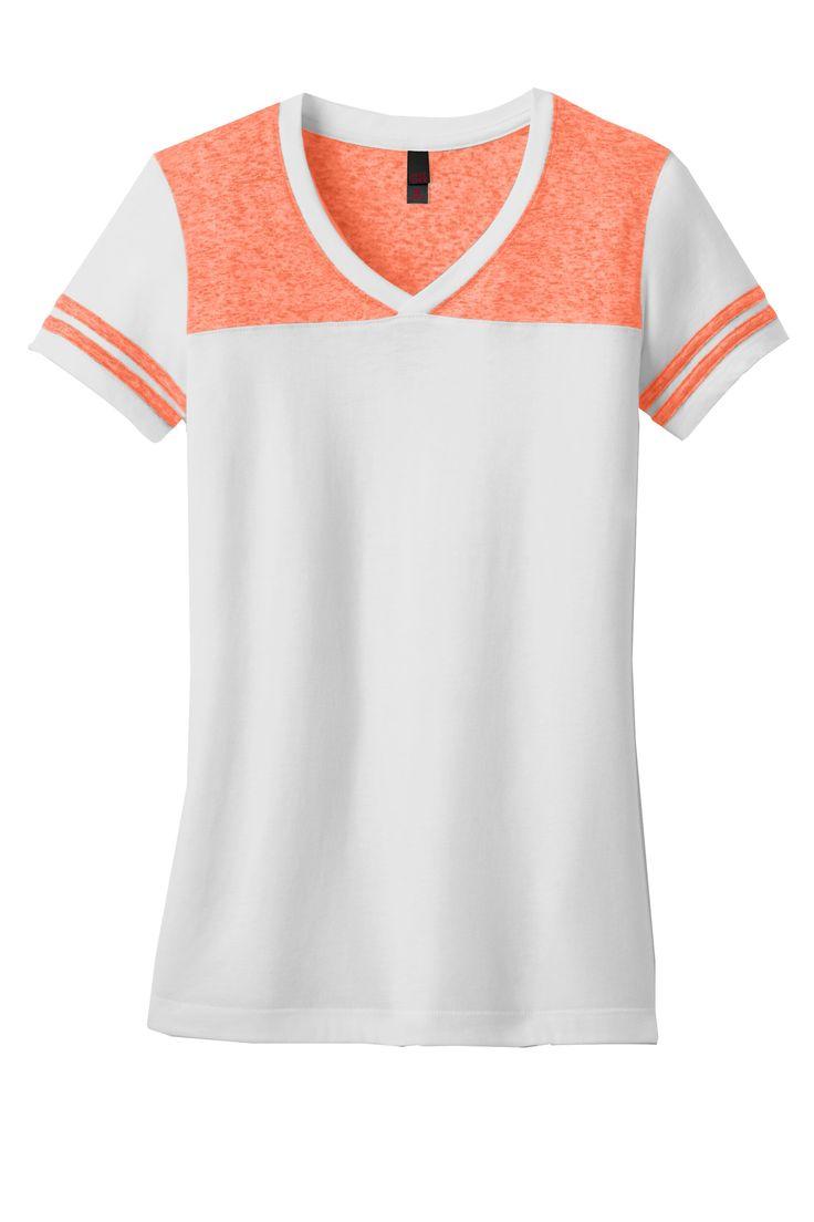 District Womens Juniors Varsity Blend V-Neck Short Sleeve T-Shirt DT264