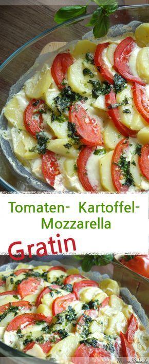 Rezept für Tomaten - Kartoffel - Mozzarella - Gratin. In einer Auflauflauf im Backofen. Mit Sahne, Knoblauch und Basilkum. – Meine Stube. tomato-mozzarella-potatoes gratin #gratin #kartoffeln #mozzarella