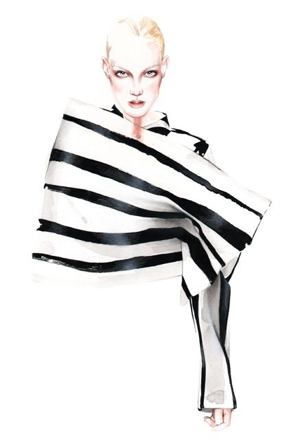 Fashion illustration of a black and white striped outfit by Acne Studios; fashion drawing // Antonio Soares