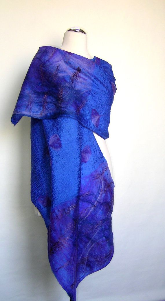 Felted indigo royal blue shawl scarf felting wool silk luxury cape wedding bridesmaid idea for her lilac purple bright blue via Etsy