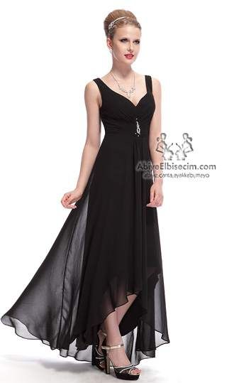 uzun şifon abiye elbise siyah