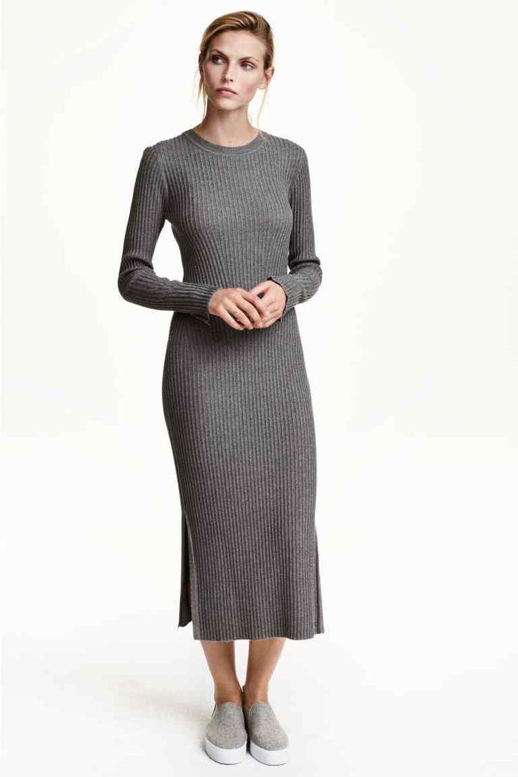 Vestido de malha canelada   H&M