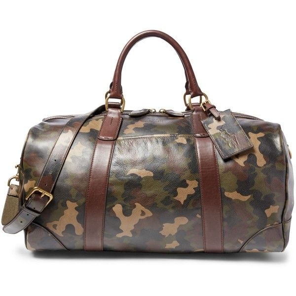 Polo Ralph Lauren Camouflage-Print Leather Duffel Bag ($698) ❤ liked on Polyvore featuring men's fashion, men's bags, camo green, mens duffel bags, mens travel bag, mens leather bag, mens leather duffle travel bag and mens leather duffel bag