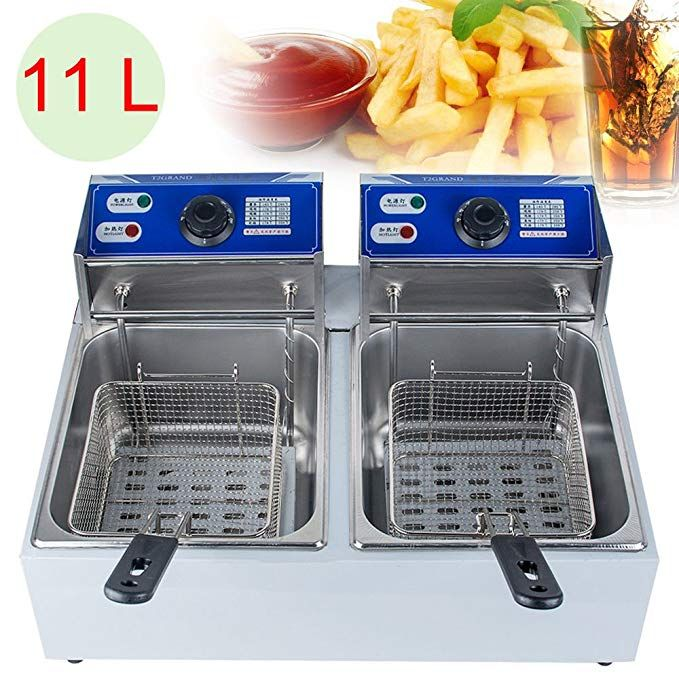 Zinnor 11l Electric Countertop Deep Fryer Dual Tank Commercial