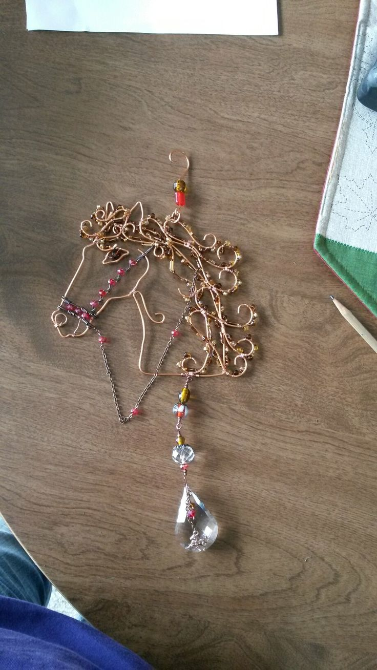 Wire wrapped beaded horse suncatcher, crystal. | Wire ...