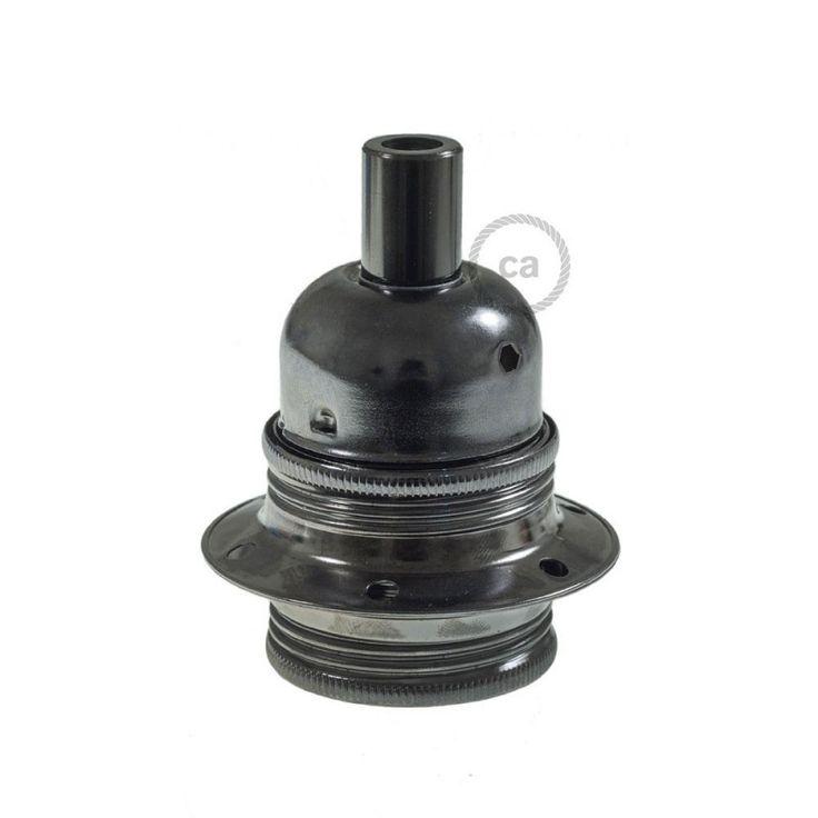 Douille en métal couleur noir perlé culot ampoule E27, double bagues + serre-câble cylindrique.