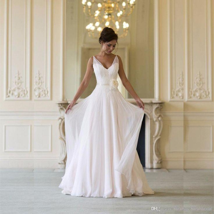 2016 New Arrival vestido de noiva Cheap Long Chiffon Wedding Dress V Neck Neckline Flowers robe de soiree Size with court train