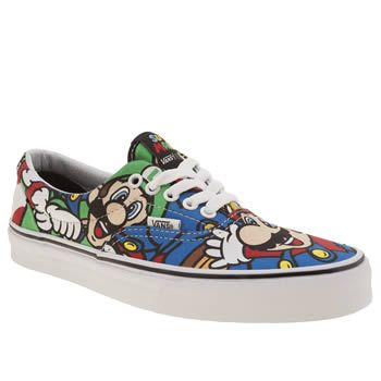 Vans Multi Era Nintendo Mario Womens Trainers Pop on these trainers from the Vans X Nintendo collection and lets-a go! The classic Era profile arrives in durable fabric, adorned in a multi-coloured print of Mario, Luigi, Toad and Yoshi. GAME OVER http://www.MightGet.com/january-2017-13/vans-multi-era-nintendo-mario-womens-trainers.asp