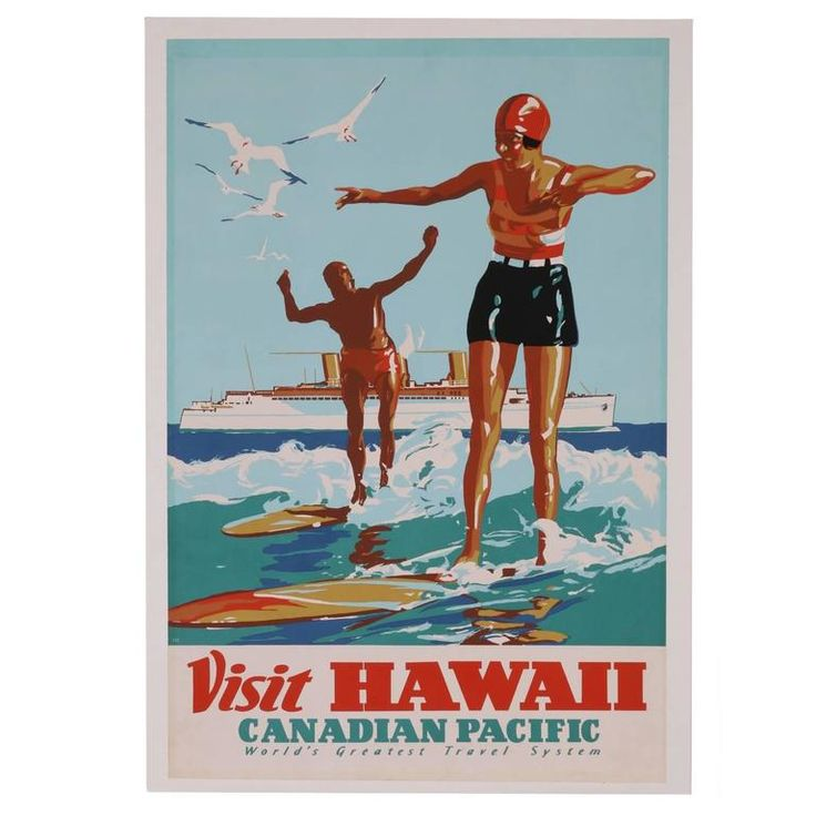 Hawaii Surf #Travel #Poster, Canadian Pacific, 1930s | From a unique collection of antique and modern posters at https://www.1stdibs.com/furniture/wall-decorations/posters/