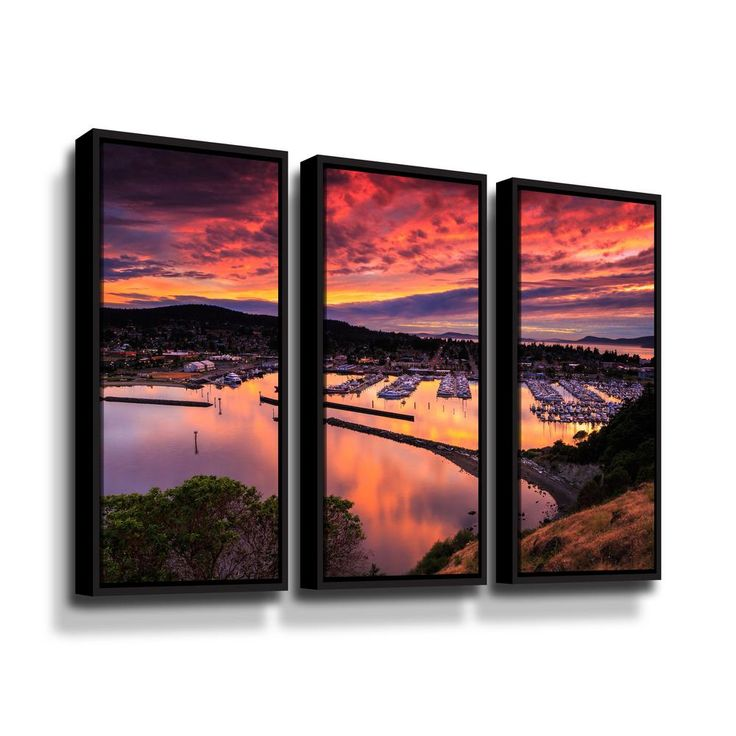 Red sunset over harbor by Shawn & Corinne severn Framed Wall Art, Orange