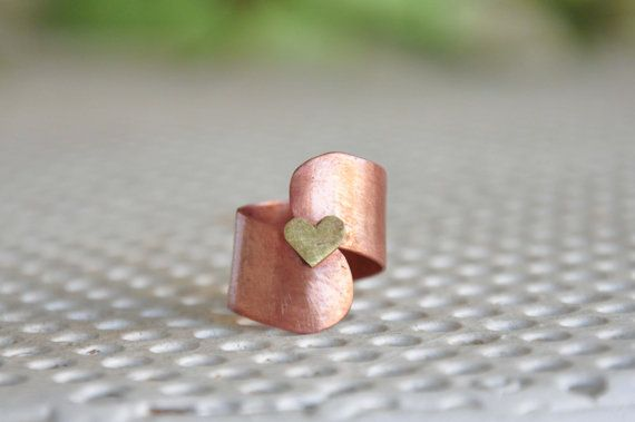 Copper summer ring Handmade copper ring and brass tiny by zOOzART, $22.00