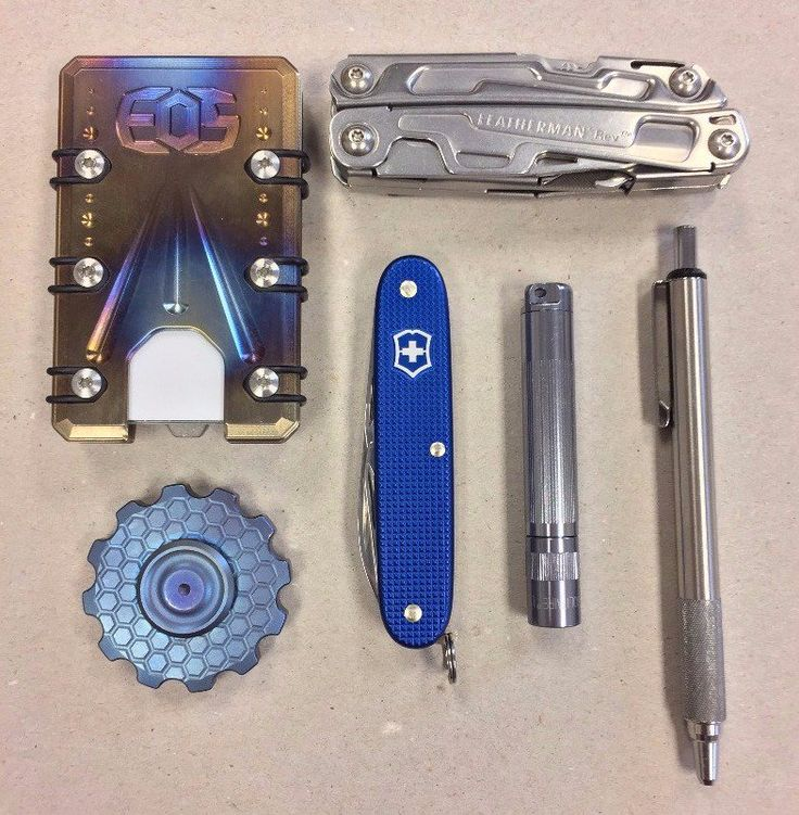 My Everyday Carry  submitted by Stu  Leatherman 832127 REV  EOS Cases Titanium Wallet  Cognito Spinner (Titanium)  Zebra F-701  Maglite Solitaire LED  Victorinox Pioneer