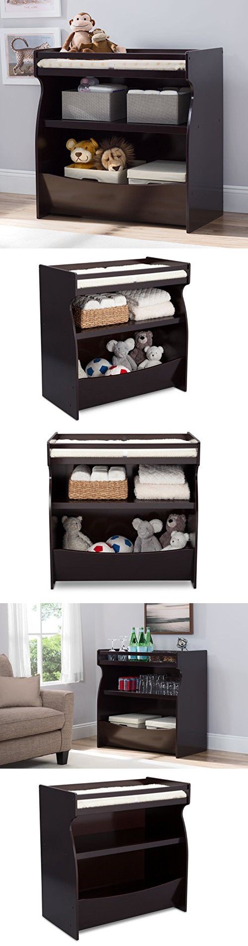 Delta Children 2-in-1 Changing Table and Storage Unit, Dark Chocolate