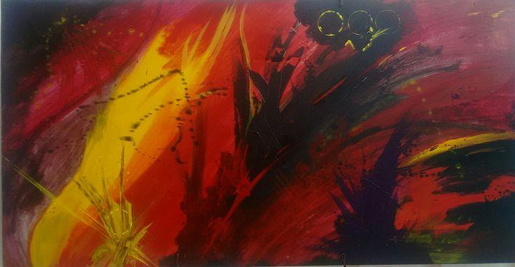Abstract painting, mixed technique, acrilic, pastel on a drywood. 150 cm x 60 cm By Oscar Cardenas.