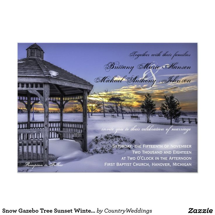 funny personal wedding card matter%0A Snow Gazebo Tree Sunset Winter Wedding Invitations