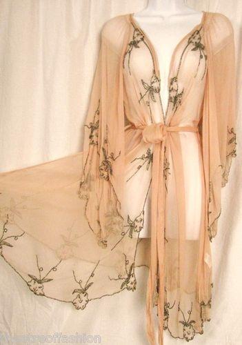 TOPSHOP FLAPPER KIMONO JACKET DRESS VINTAGE NUDE BEADED 20s GATSBY 30s WEDDING