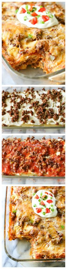 Taco Lasagna - only 7 ingredients. So easy!