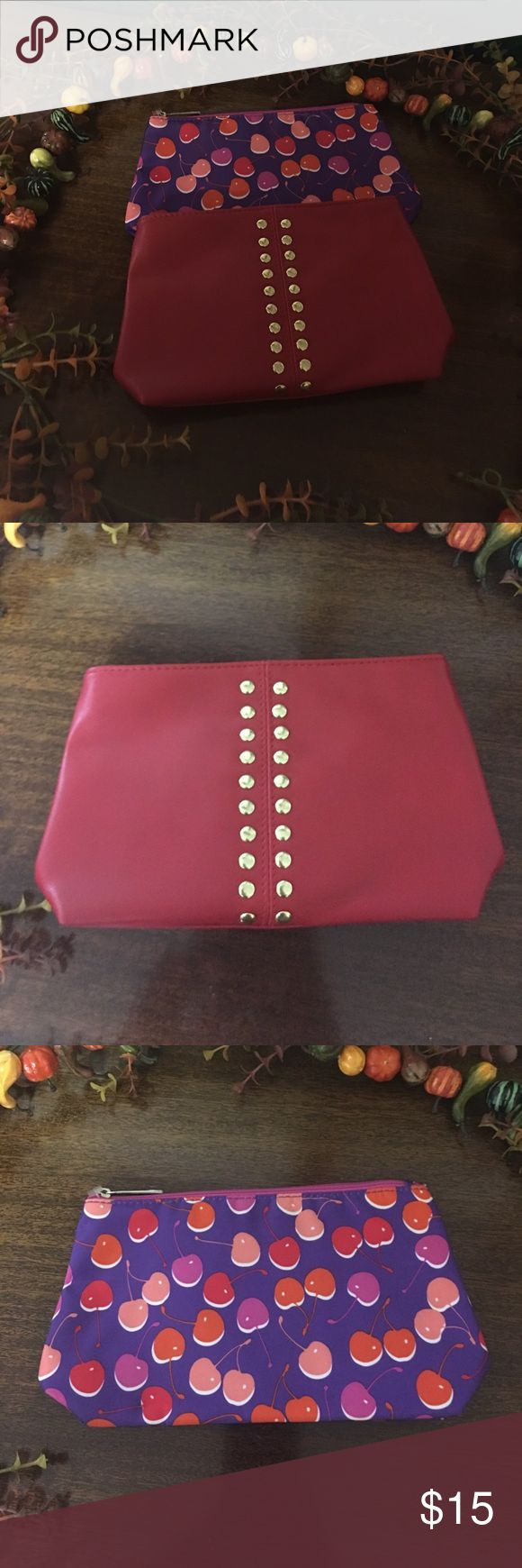 Bundle of 2 make up bags Super cute Leather with gold studs is an Elizabeth Arden bag and the cherries is a Clinique bag!! Bags Cosmetic Bags & Cases