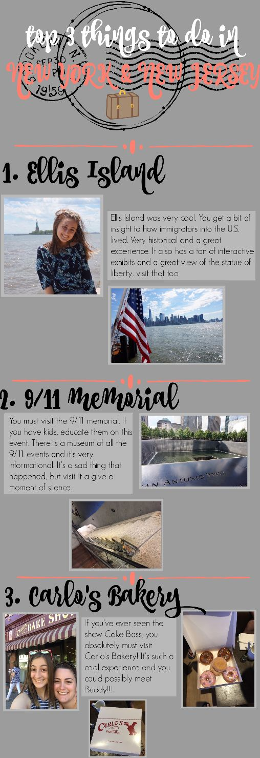 SOME OF MY FAVORITE PLACES! New York and New Jersey were amazing! This was a hassle to make but I had fun!!! Hope you enjoy it!! Comment any questions and I'll try my best to answer!! Loved Ellis island and 9/11 memorial and Carlos bakery