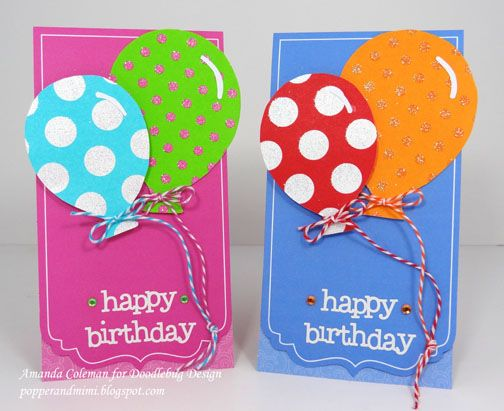 Popper and Mimi: CAS Balloon Birthday Cards for Girls and Boys