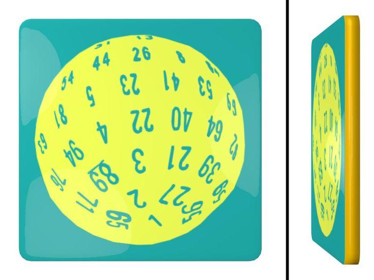 D100 Dice Square Coaster / #Tableware #SVGA