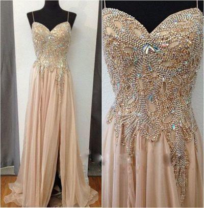Spaghetti Straps Prom Dress,Beading Prom Dress,Chiffon Prom Dress,Evening Dress