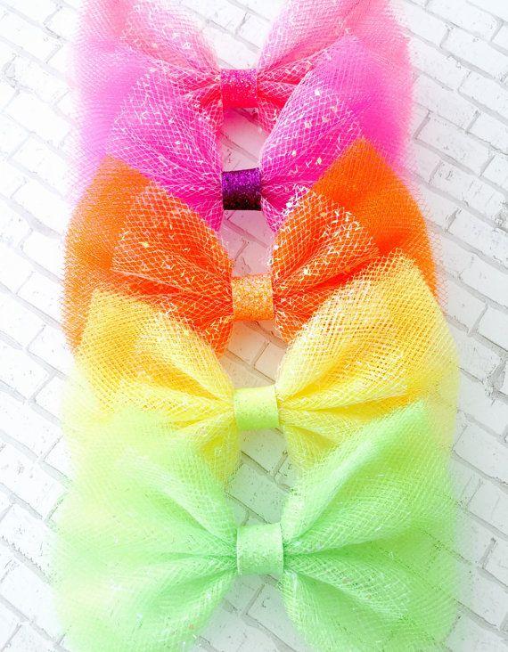 Sparkle Tulle arcos  neones  tul bow diademas pinzas de
