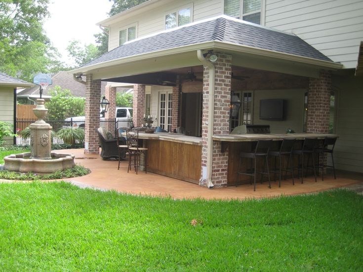 Custom Designed And Built Patio Cover In Houston With Brick Columns,  Outdoor Kitchen, And