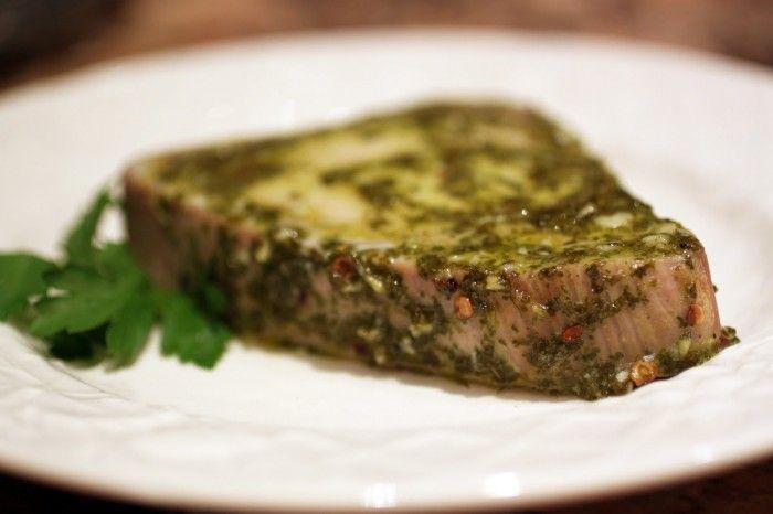 Baked Tuna with Chimichurri marinade: 3 cloves garlic, 1 cup parsley, 1 t black pepper, 2 lemons, 1/2 c EVOO, 1/4 t red pepper flakes, 1 t salt, 2 ahi tuna steaks