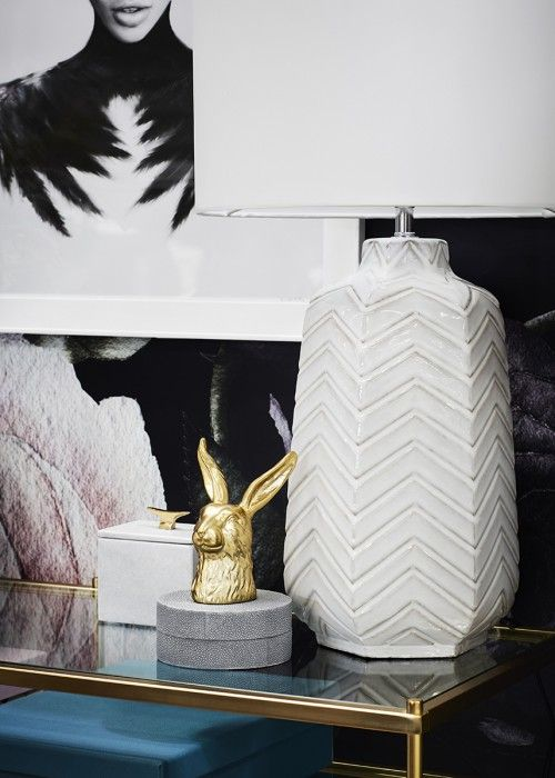 Girl boss home office.  A space is never complete without a few quirky additions.  Hello Bunny.  Styled by Leeder Interiors.