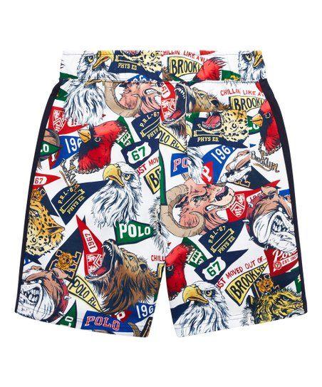 a9ec7d479 Polo Ralph Lauren White Sports Brooklyn Pennant Shorts - Boys   Zulily