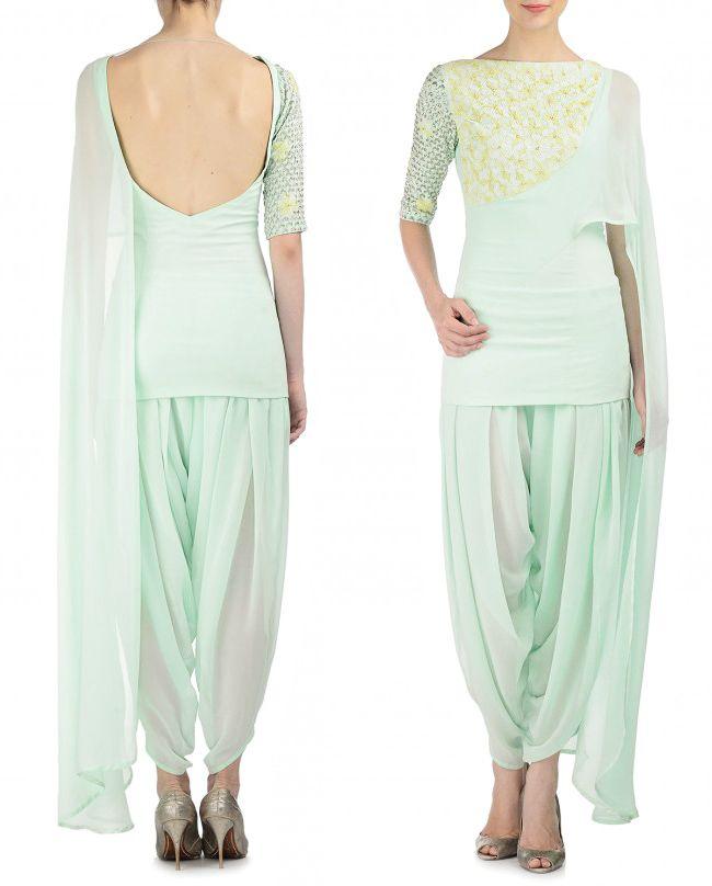 MADSAM TINZIN Embroidered Mint Green Short Kurta and Dhoti Pants