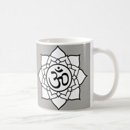 Om Mandala Grey Mug - black gifts unique cool diy customize personalize