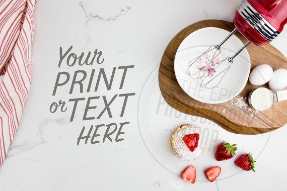 Print Background / Blank Frame / Styled Stock Photography / Product Photography / Staged Photography / Red / Fruit / Baking Kitchen / TK001