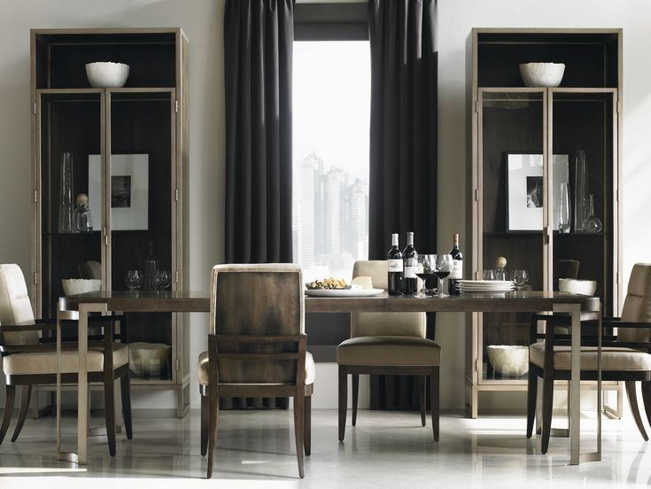 Create An Enviable Dining Aesthetic With The Clean Lines And Dark Fumed Oak Of My Manhattan Upholstered ChairsDisplay CabinetsDining TableDining