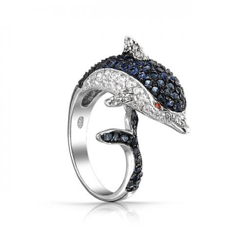 Bling Jewelry Sterling Silver Blue Sapphire Color CZ Dolphin Cocktail Ring