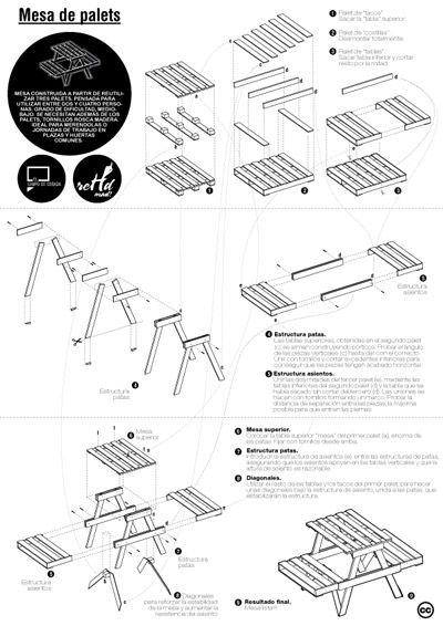 Planos de diferentes muebles hechos con palets