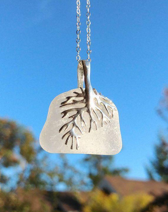 Chunky white seaglass Pendant