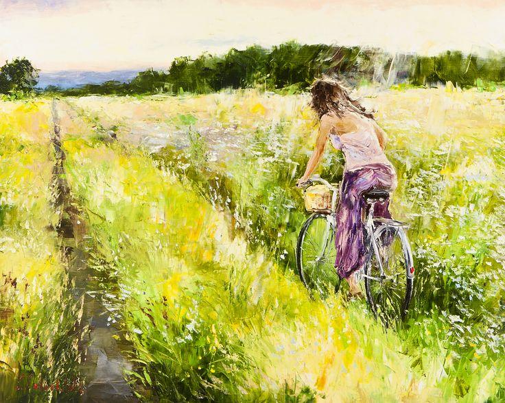 'Cycling in the Summer' by Gleb Goloubetski Oil on Canvas  80cm x 100cm