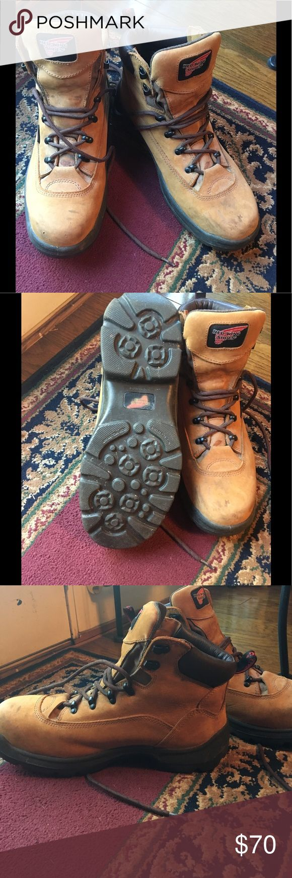 "Red Wing Steel Toe Work Boots Size 11EE Nice used Red Wing Lace Work Boots. Has Steel Toe and is waterproof. Size 11EE. Husband wore few times then went  to his ""collection"" in closet. No Box, No insoles. Soles are in great condition! Red Wing Shoes Shoes Boots"