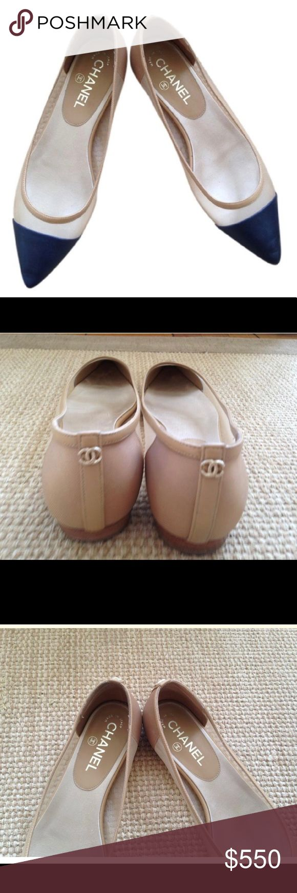 Authentic CHANEL flats These are amazing. They are nude with NAVY cap toe. The sides are a nude mesh. Worn minimally and retailed for 1300. No longer have box. the toes do not have creases. Get here for a fraction of the price CHANEL Shoes Flats & Loafers