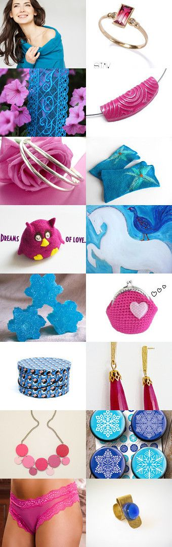 Electric Blue ♡ and ♡ Hot Pink ! ♡ by Julia Apostolova on Etsy--Pinned with TreasuryPin.com