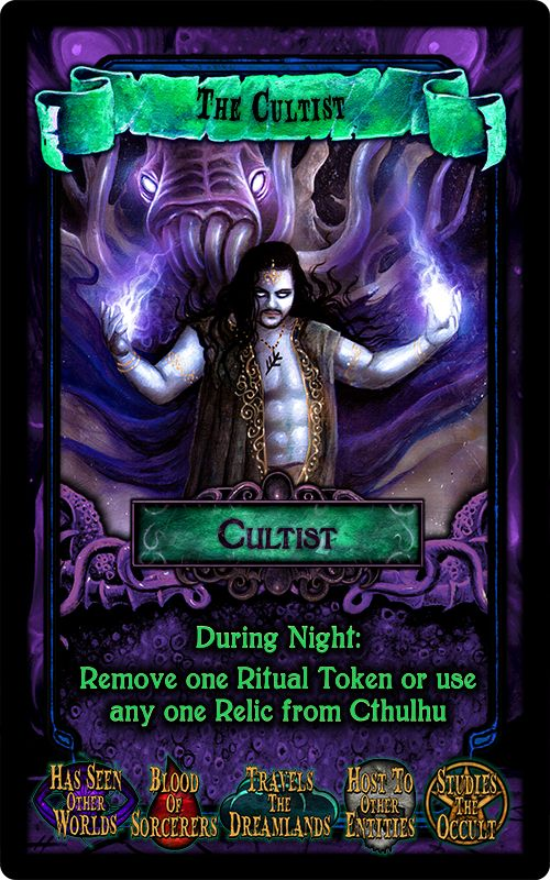"""The Cultist - from the party game """"Arkham Nights"""" by Dann Kriss Games, with art by Ian Daniels © 2015"""
