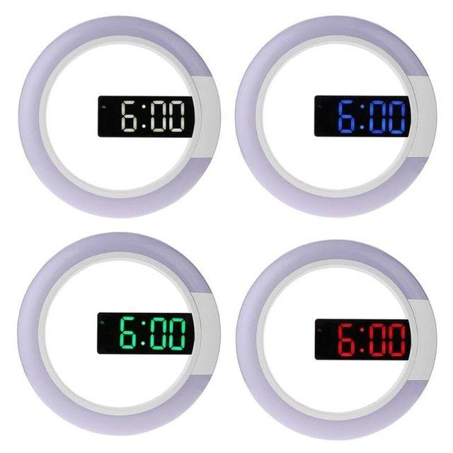 Mirror 3 Modes Brightness Adjustable Hanging Wall Clock 12 Inch Round Digital Rgb Led Temperature Alam Clock Home Decoration Review Led Alarm Clock Clock Alarm Clock